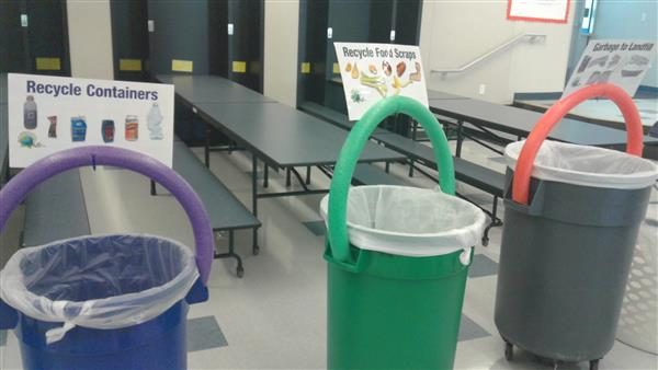 students learn which special container certain trash, recycling or compost goes in at Cumberland