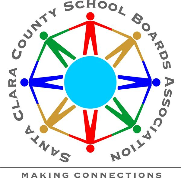 Santa Clara County School Boards Association logo of stick figures holding hands around a sphere